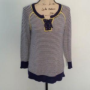 Sense knits striped long sleeve top medium